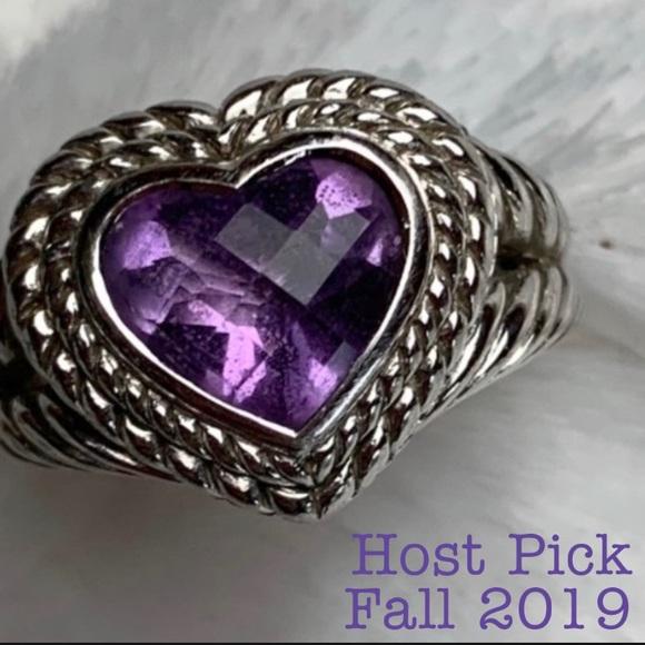 Judith Ripka Jewelry - Judith Ripka Amethyst Heart & 925 Sterling Ring-7
